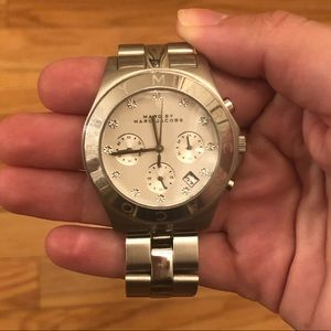 Marc Jacobs silver and diamond watch